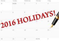 List Of Holidays 2016
