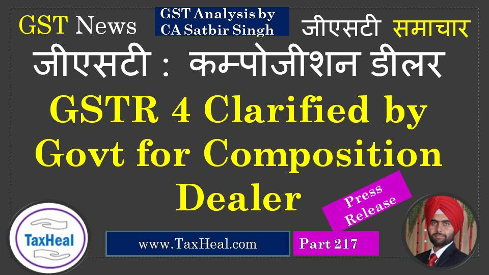 gstr 4 clarified for composition dealers - Tax Heal